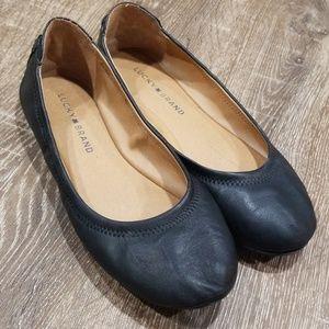Lucky Brand Echo 2 black leather ballet flats 8.5